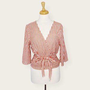 Japna 100% Cotton Striped Half Sleeve Wrap Top